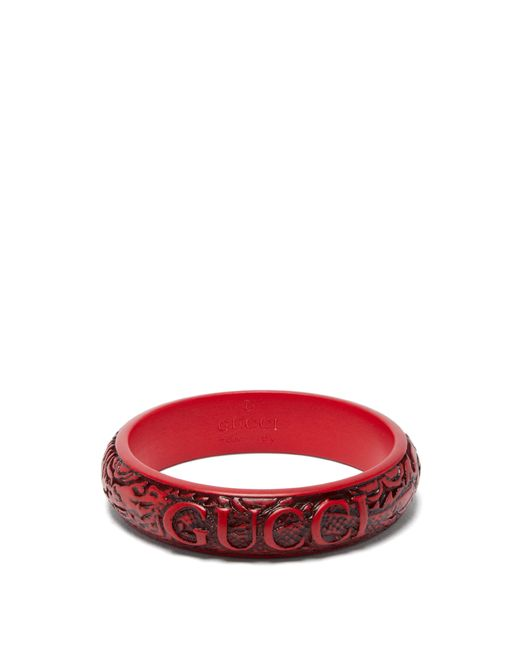 Gucci - Red Logo-engraved Resin Bangle - Lyst