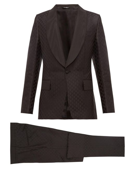 Dolce & Gabbana Black Single Breasted Silk Jacquard Three Piece Suit for men