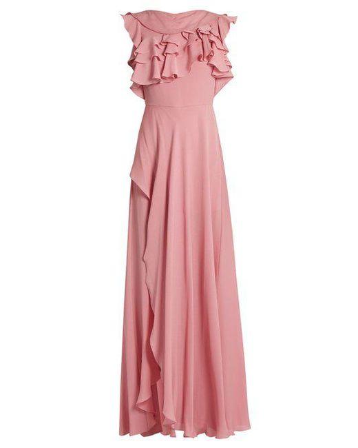 Elie Saab - Pink Ruffled Silk-georgette Gown - Lyst