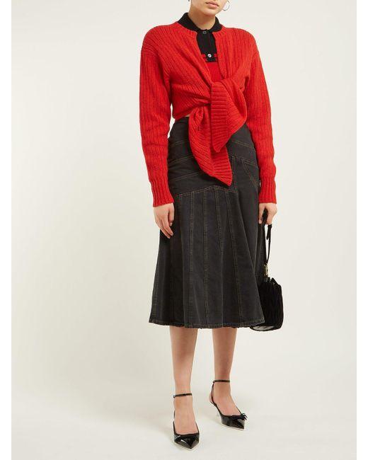 b477e21d193b ... Miu Miu - Red Block Colour Cropped Cashmere Sweater - Lyst ...