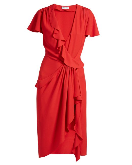 Altuzarra - Red Mesilla Ruffled Silk Blend Dress - Lyst