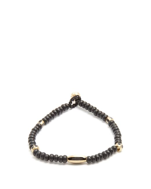 Luis Morais | Black Bead, Enamel And Yellow-gold Bracelet for Men | Lyst