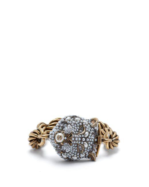Gucci - Metallic Chunky Feline Head Bracelet - Lyst