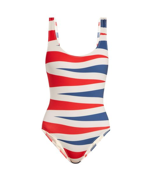 Solid & Striped Red The Anne Marie Backgammon Print Swimsuit