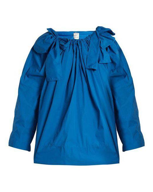 Maison Rabih Kayrouz - Blue Scoop-neck Bow-detail Paper-taffeta Top - Lyst