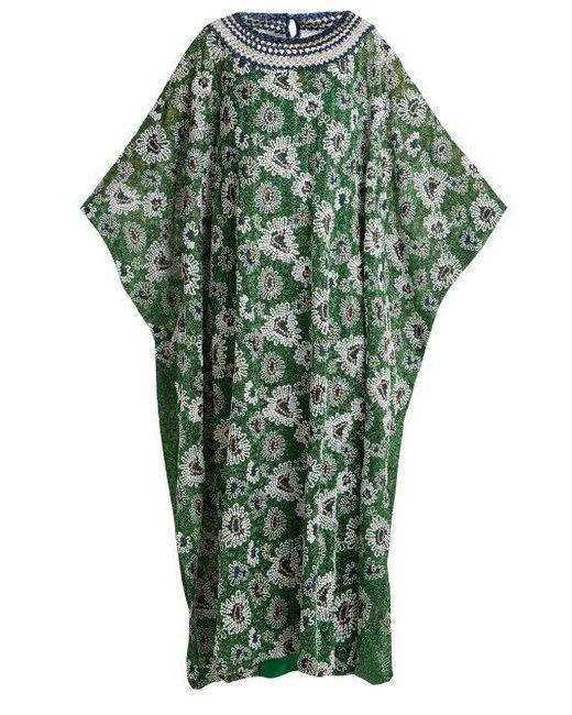 Floral-embroidered metallic-knit kaftan Missoni pMRrmx9hnh