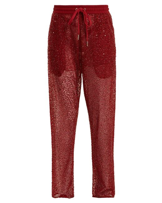 Ashish - Red Straight-leg Bead And Sequin-embellished Trousers - Lyst