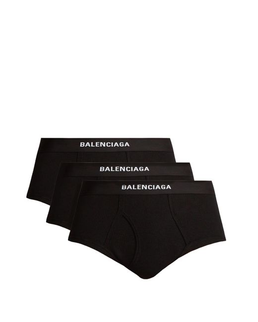 Balenciaga - Black Set Of Three Ribbed Cotton Briefs for Men - Lyst