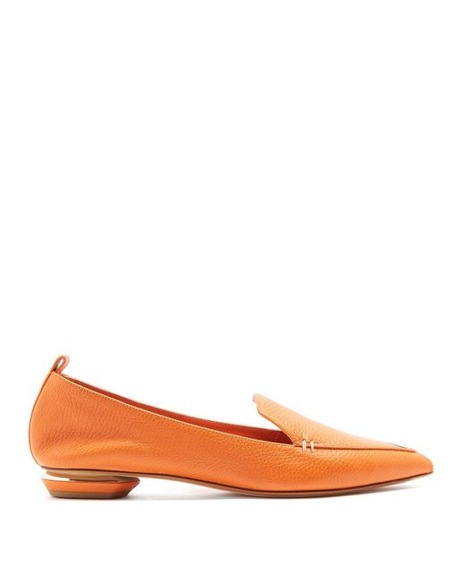 Nicholas Kirkwood - Orange Beya Grained-leather Loafers - Lyst