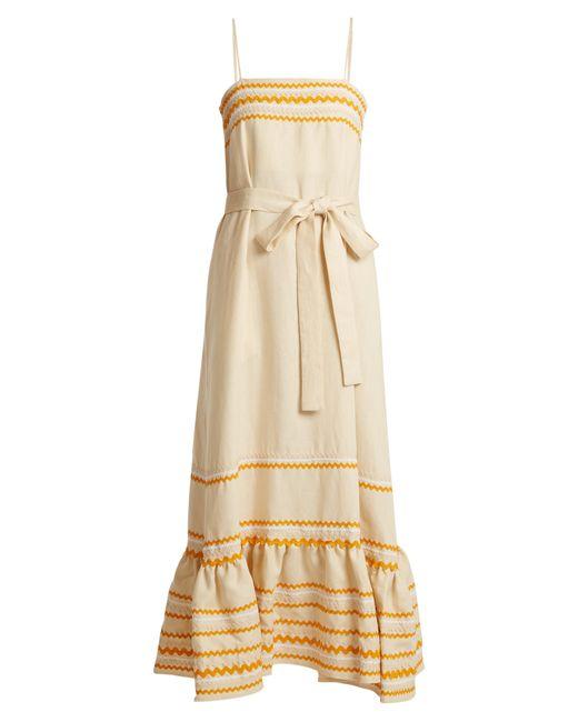 Lisa Marie Fernandez - Natural Rickrack Trimmed Linen Slip Dress - Lyst