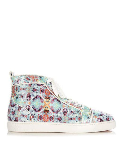5dbd745eb829 Christian Louboutin - Multicolor Louis Pixelated Python High-Top Trainers  for Men - Lyst ...