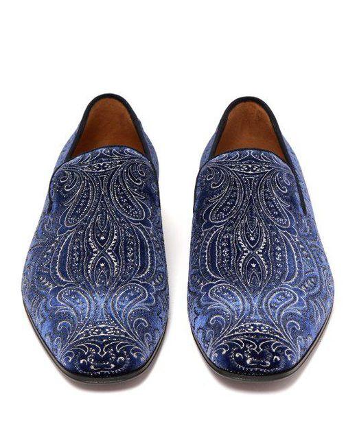 fcb8ae8cf16 ... Christian Louboutin - Blue Dandelion Velvet Loafers for Men - Lyst