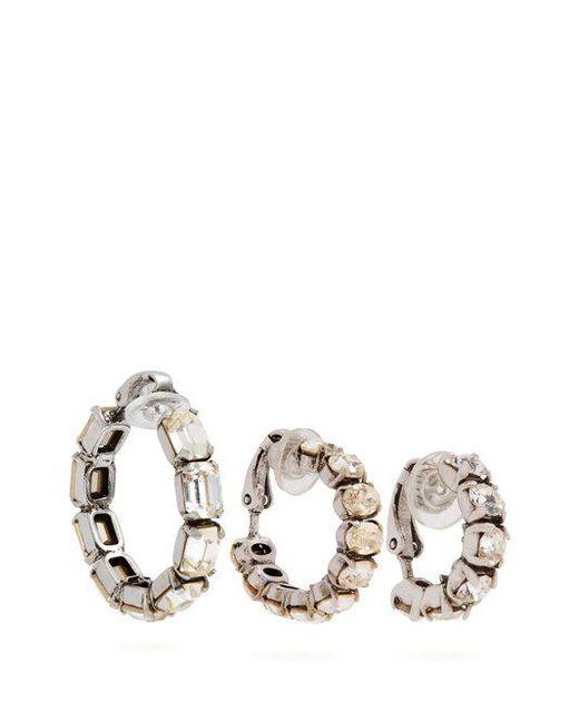 Saint Laurent - Metallic Set Of Three Crystal-embellished Hoop Earrings - Lyst