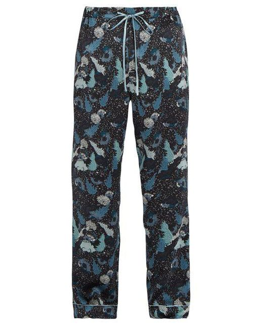 Meng - Blue Decorative Floral-print Silk-satin Pyjama Trousers for Men - Lyst