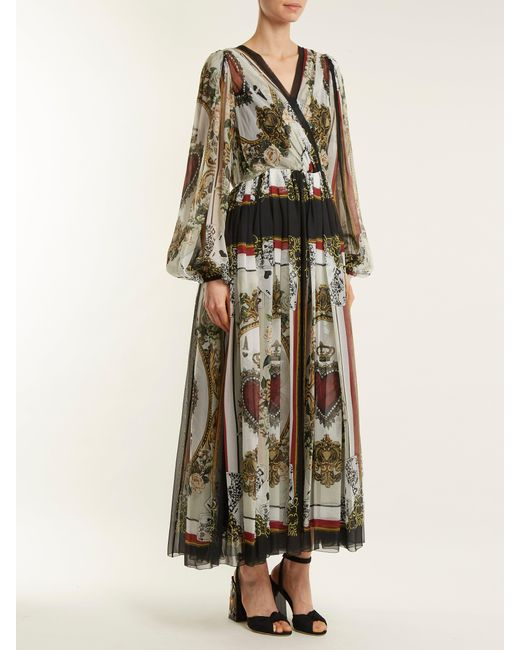 ... Dolce   Gabbana - Multicolor Queen Of Hearts And Floral Print Silk Dress  - Lyst f4fc40f58