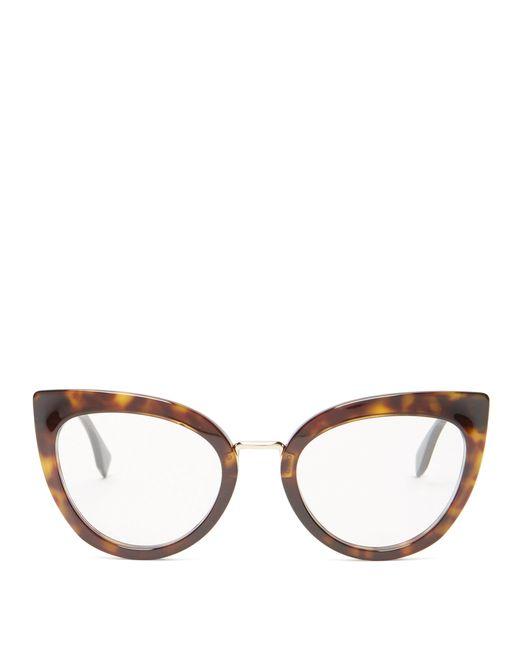 Fendi - Brown Cat Eye Tortoiseshell Acetate Glasses - Lyst