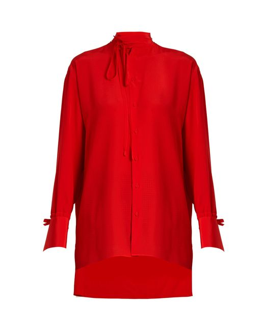 Valentino | Red Tie-neck Silk Blouse | Lyst