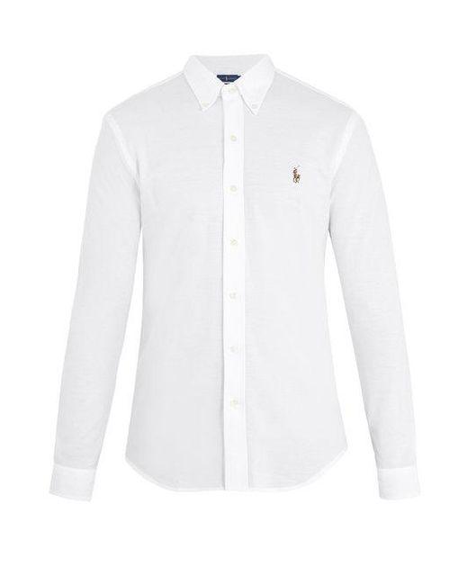 Polo Ralph Lauren - White Oxford Logo-embroidered Cotton-piqué Shirt for Men - Lyst
