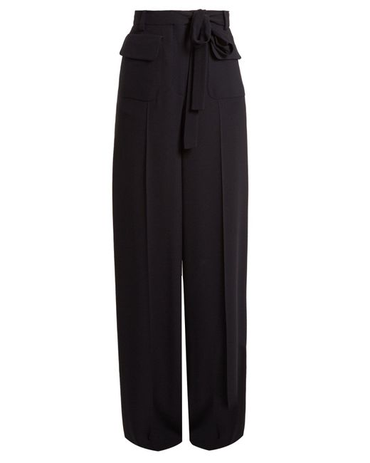 Valentino - Blue Wide Leg Crepe Trousers - Lyst