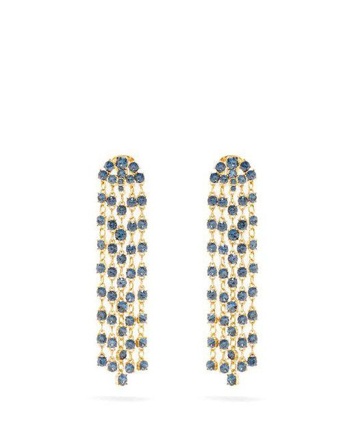 Oscar de la Renta - Blue Crystal-embellished Clip-on Earrings - Lyst