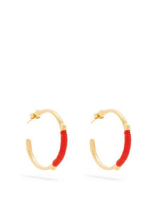 Marte Frisnes gold metallic and orange dido sterling silver hoop earrings ufKLswW