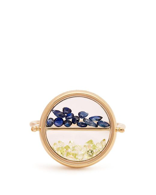 Aurelie Bidermann - Metallic Sapphire, Peridot & Yellow-gold Ring - Lyst