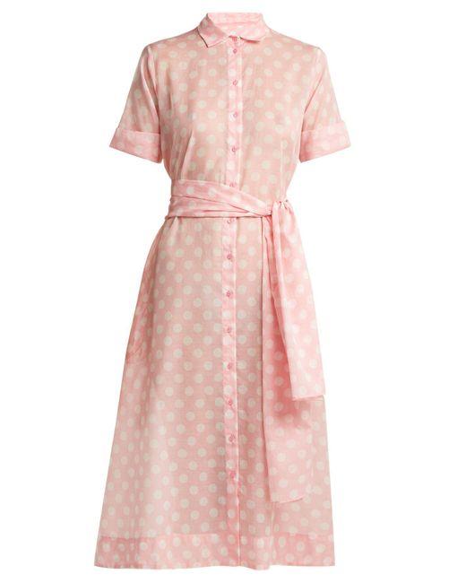 Lisa Marie Fernandez - Pink Polka-dot Print Cotton Shirtdress - Lyst