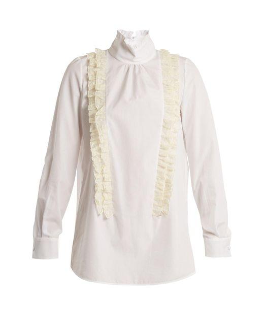 N°21 - Multicolor Ruffle-trimmed High-neck Cotton-poplin Blouse - Lyst