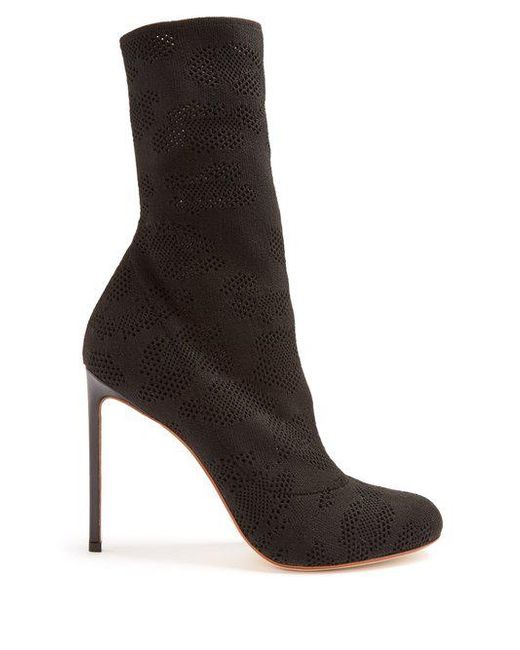 Francesco Russo Eyelet-knit sock ankle boots