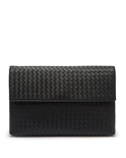 0e5f6e9b1331 Bottega Veneta - Black Intrecciato Leather Document Holder for Men - Lyst  ...