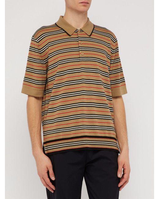 0c01c459 ... Burberry - Natural Icon Stripe Merino Wool Polo Shirt for Men - Lyst ...