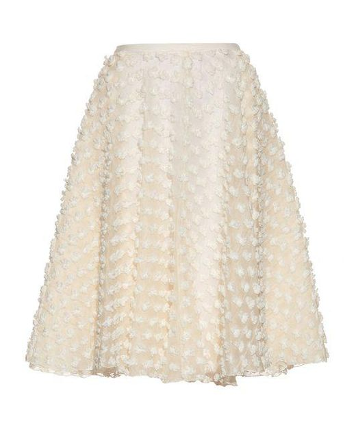 rochas textured fabric a line skirt in white lyst
