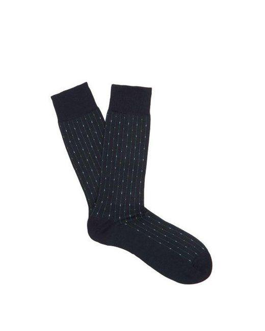 Pantherella - Blue Palmer Pinstriped Cotton-blend Socks for Men - Lyst