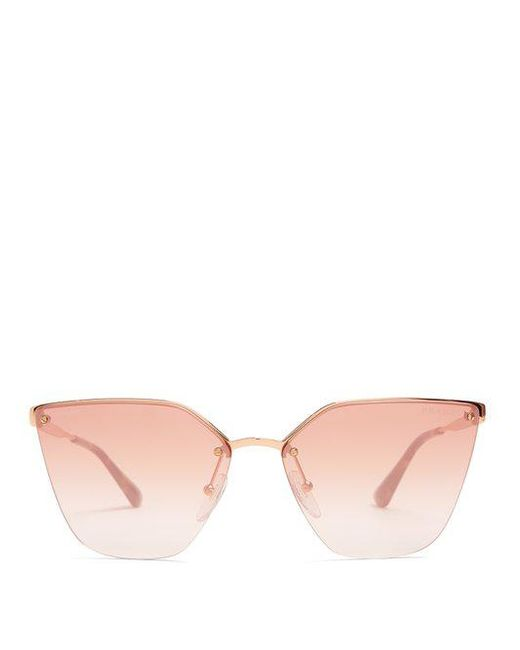 dc9dda0895ff ... official prada pink mirrored cat eye metal sunglasses lyst 11a86 2d0c4