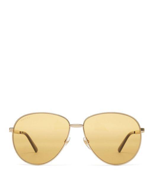 4bf263b11a8 Gucci - Metallic Aviator Frame Metal Sunglasses for Men - Lyst ...