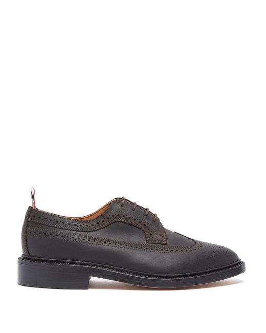 Thom Browne - Brown Longwing Brushed-leather Brogues for Men - Lyst