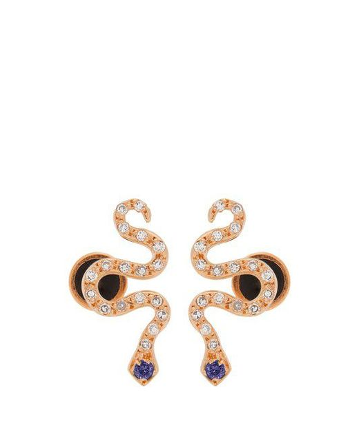 Ileana Makri - Metallic Diamond, Sapphire & Rose-gold Snake Earrings - Lyst