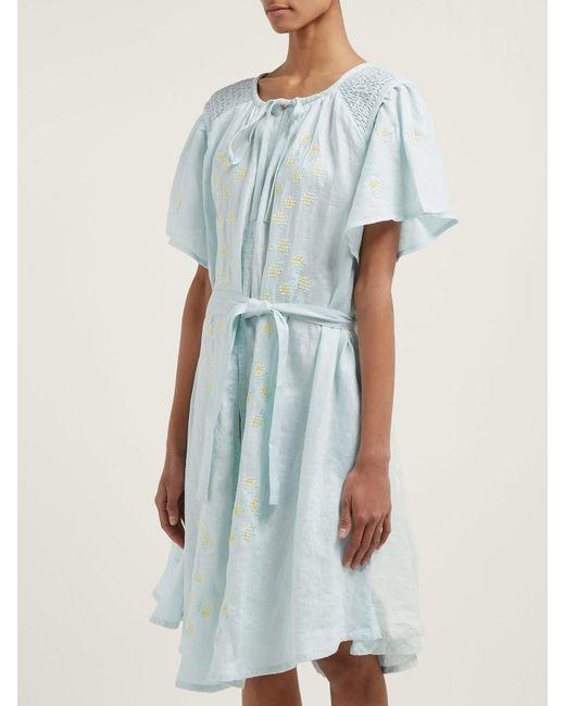 ea9dafdb35e ... Innika Choo - Blue Hans Ufmafrök Embroidered Linen Smock Dress - Lyst  ...