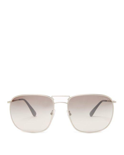 Prada - Metallic Aviator-frame Metal Sunglasses for Men - Lyst