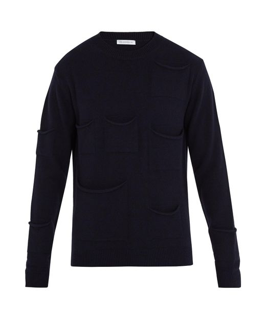 J.W. Anderson | Blue Pocket-detail Wool-blend Sweater for Men | Lyst