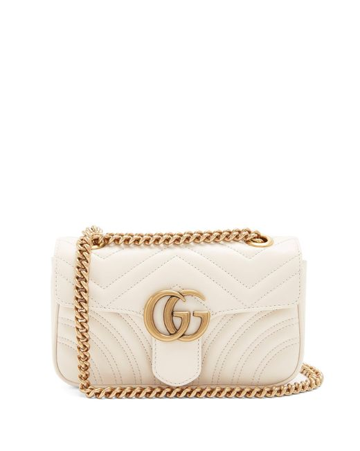 cb69678c11e7 Gucci - White Gg Marmont Mini Quilted Leather Cross Body Bag - Lyst ...