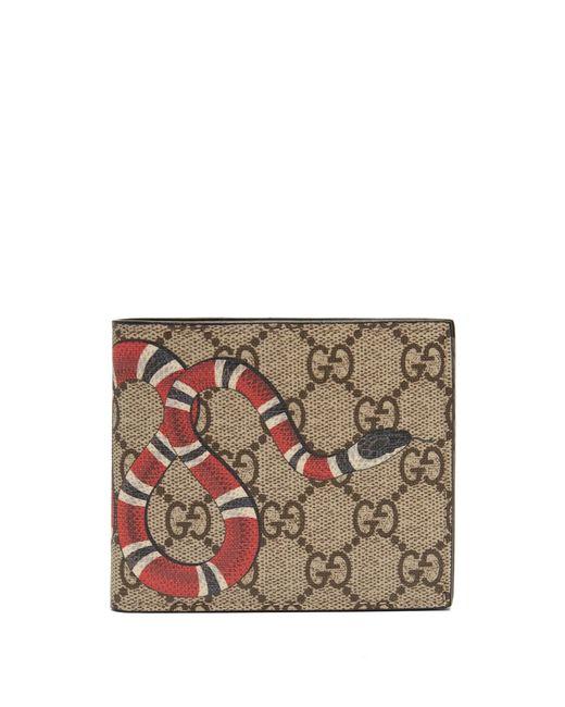 Gucci Multicolor Kingsnake Print GG Supreme Wallet for men