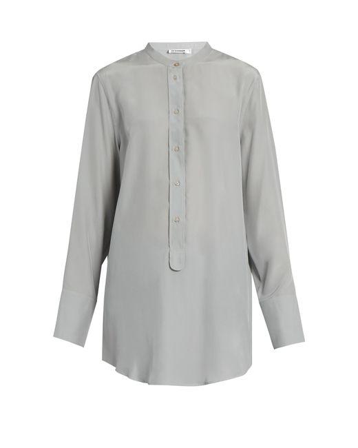 Jil Sander   Gray Christina Silk-crepe Shirt   Lyst