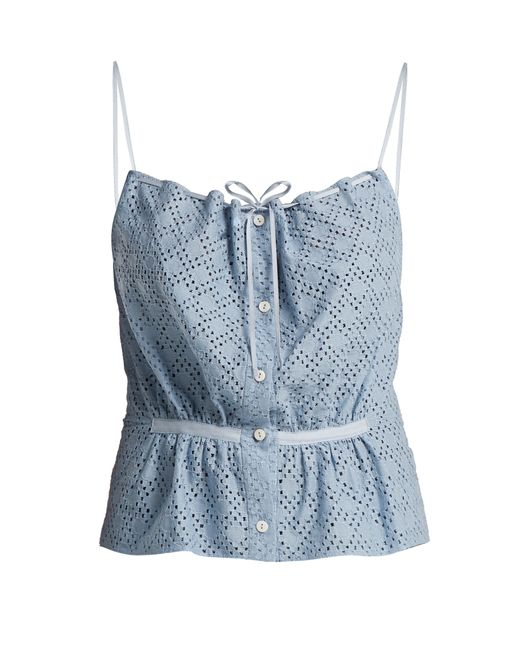 Raey - Blue Button Through Broderie Anglaise Cami Top - Lyst