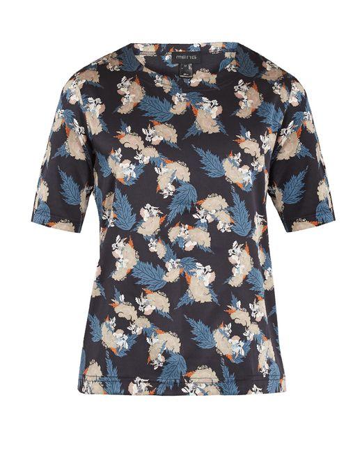 Meng   Blue Floral Leaf-print Silk-satin Pyjama Top for Men   Lyst