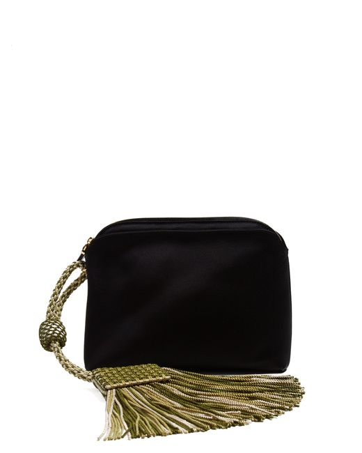 The Row - Black Tassel Trim Satin Clutch Bag - Lyst