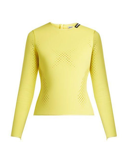 Perforated Neoprene Top - Yellow Balenciaga Great Deals Sale Online Cheap Sale Low Shipping Cheap Shopping Online Latest Collections Cheap Online CJXjG3