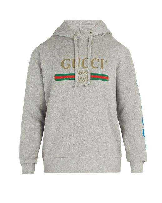 b675c997b05 Gucci - Gray Dragon And Logo Hooded Sweatshirt for Men - Lyst ...