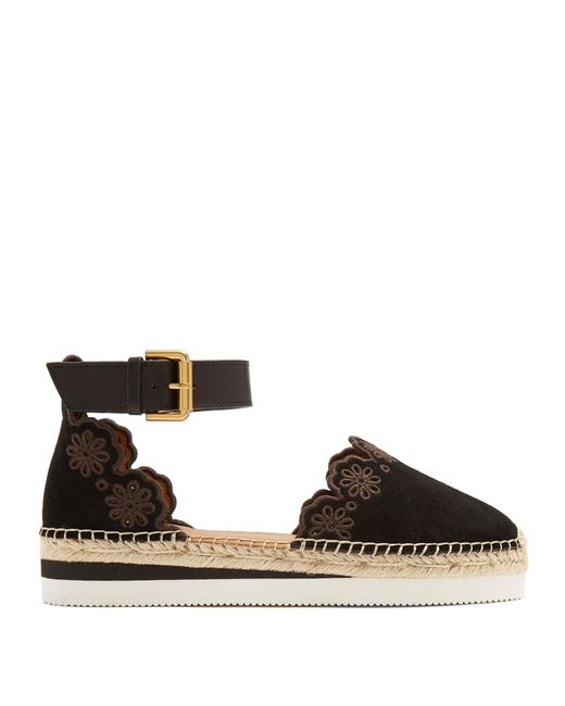 See By Chloé | Black Flower Laser-cut Suede Flat Espadrilles | Lyst