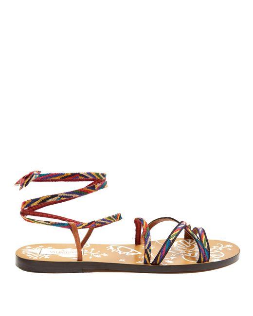 Valentino | Multicolor Santeria Native Couture Leather Sandals | Lyst